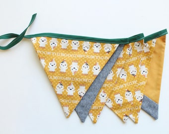 Halloween bunting in Sweet lil' Ghosts print and Essex Linen