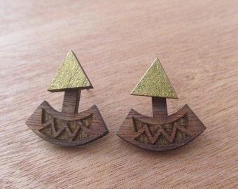 Golden wooden ear Jackets laser cut earrings, Geometric triangle ear jackets, Wooden jewelry, Handpainted wooden earrings, Wooden earrings