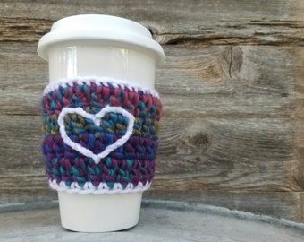 Coffee Sleeve with Heart  Coffee Cozy Reusable Coffee Sleeve Coffee Accessories Stocking Stuffer Eco Friendly Pink Teal Aqua READY TO SHIP