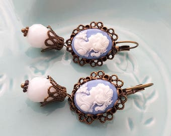 Blue lady Cameo Leverback earrings - Classic Beautiful