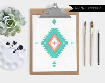 Instant Download Desert Triangle Digital Art Print Southwest Illustration Navajo Print Aztec Print Printable Art Print