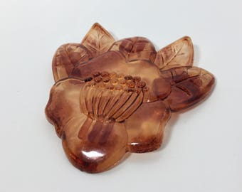 Vintage Lucite Extra Large Floral Pendant - Hibiscus Shield in Tortoiseshell Early Plastic (Celluloid?) - Unique Statement Piece