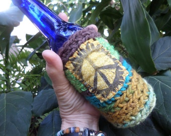 Hippie Gift, Hippie Festival, Peace Sign, Beer cozy, beer cooler, hippie crochet, beer gift, beer accessory, can cooler, bottle cooler, D45