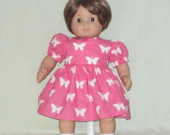 American Girl Bitty Baby Doll Dress White Butterflies on Pink