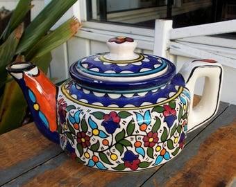 Made in Isreal Mosaic Teapot / Hand Painted Folk Art Coffee Tea Pot