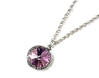 Light Vitrail light purple and pinkish Swarovski Rivoli crystal on sterling silver chain