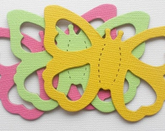 12 Butterfly Die Cuts - Chipboard Butterflies - Embellishments - Pink, Yellow, Green,  2 x 2 3/4 inch