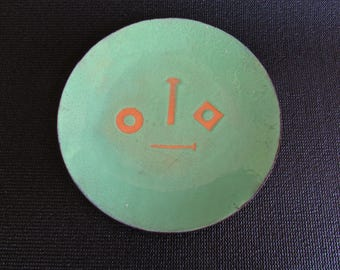 Modern Enamel Plate w/ Tool-Box Stencil in Bright Green and Copper, Mid Century Metal Arts