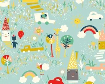 One (1) Yard - Happy Town Organic Poplin Fabric Birch Fabrics EI-19 Sky Blue