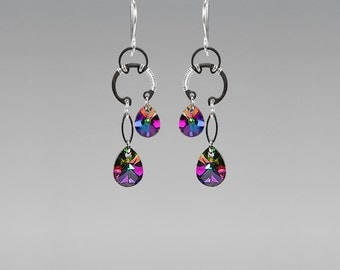 Swarovski Crystal Earrings , Rainbow Crystal, Wire Wrapped, Industrial Earrings, Electra Swarovski Crystal, Youniquely Chic, Antares II v9