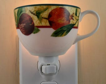 White  Stoneware Tea Cup With Pomegranate & Fig Pattern Custom Made Night Light