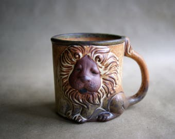 Vintage Lion Mug Made in Japan by UCTCI King of the Jungle, 1970's Coffee Cup Pouty Face Droopy Eyes Too Cute