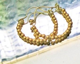 ROUND BEADED Simple Hoops Earrings Gold Filled 14K  BBJUDesign