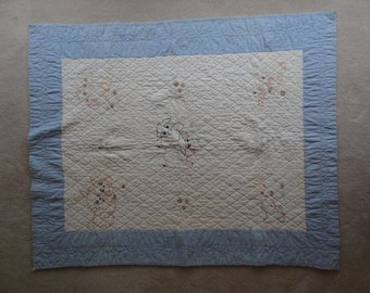 Vintage Baby Quilt. Handquilted. Soft Blue and White. Embroidered Animals