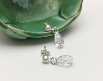 Silver & Swarovski Crystal Briolette Stud Earrings - Clear - (E378SS)