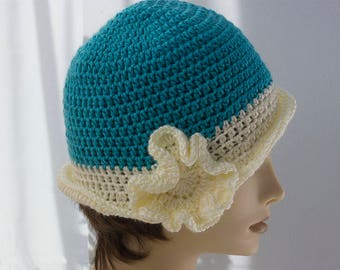 Flower Cloche Hat, 1920's Flapper Hat, White and Turquoise Women's Hat, Ready to Ship