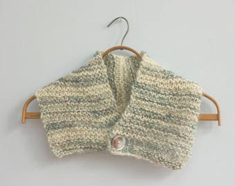 Hand Knit Neck Warmer, Button Neckwarmer,  Handspun Wool Cowl,  Off White, Pale Blue,  Ready to Ship