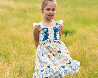 Girls Chicken Twirl Dress - Chicken Dress - Farm Dress - Country Dress