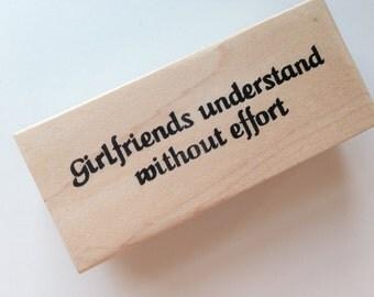 GIRLFRIENDS Text Wooden Rubber Stamp/Girlfriends Stamp/Text Stamps/Friendship Stamp/Individual Stamps/Rubber Stamps/Wooden Stamps