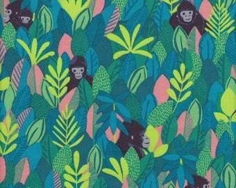 Blend Fabrics Bwindi Forest Mountain Gorilla in Green - Half Yard