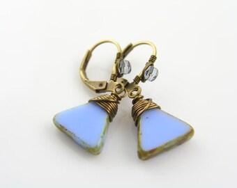 Periwinkle Blue Earrings, Triangle Earrings, Blue Jewelry, Something Blue, Pierced Earrings, Short Earrings, Wire Wrapped Jewelry