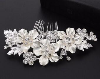 Floral Bridal Comb, Wedding Comb, Rhinestone Wedding Headpiece, Floral Bridal Headpiece, Flower Comb for Bride