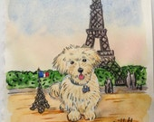 Send your Pet to Paris custom watercolor portrait 8.25 x 11 inches