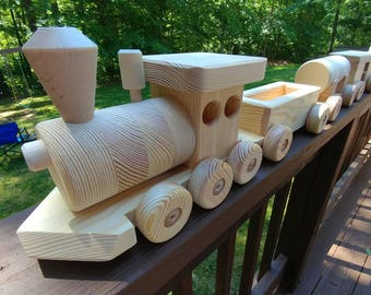 SALE 20 off! Wooden  toy train set 6 Car  All Natural Pine with No Finish  5 Foot Long