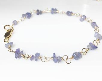 Tanzanite Gold Bracelet, December Birthstone, Lilac Lavender, Layering Bracelet
