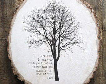 RM Drake quote trees on reclaimed wood