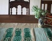 Pretty Pineapple Hand Printed Linen Table Runner