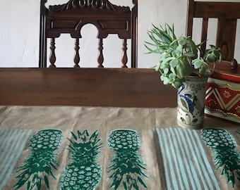 Palm Springs Pineapple Hand Printed Linen Table Runner