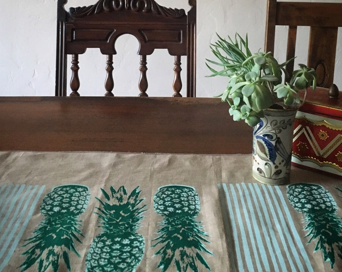 Hand Printed Linen Table Runner - Palm Springs Pineapple | Handmade Pineapples Runners | Sceen Printed Original Design