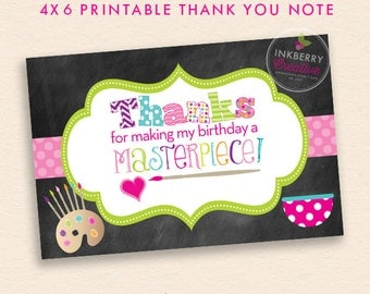 Pottery Painting Birthday Party Thank You Note - INSTANT DOWNLOAD - Digital, Printable Files