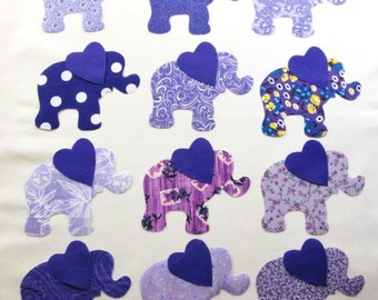 Set of 12 Purple Elephant w/Heart Ears Iron-on Fabric Appliques for Quilts & Clothing