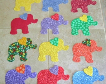 Set of 12 Mixed Elephant w/Heart Ears Iron-on Fabric Appliques for Quilts & Clothing