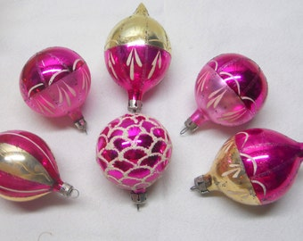 Vintage 1950s Shiny Brite, Germany, Mixed Mercury Glass Ornaments, pink/silver/gold/flocked/mica  Small 2-3 inch- Set of 6