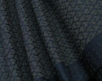 Jacquard pointed hearts gray on dark blue 0.54yd (0,5m) 003302