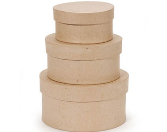 Paper Mache Unfinished Oval Small Stacking Boxes