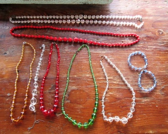 Lg LOT Of Antique/Vintage GLASS Bead NECKLACES Etc. Some Intact-Some Not-Remake-Repurpose Lot