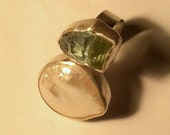 Custom Order for Nikki Ring Raw Aquamarine Raw Peridot White Round Pearl Comfort Fit Band by Marc Gounard of Sausalito CA Custom Order