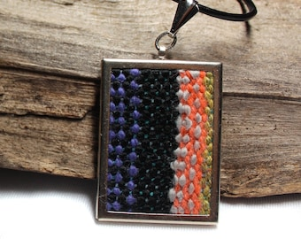 Handwoven Rectangle Pendant Necklace | Woven Macrame Jewelry | Wearable Striped Mini Tapestry | Colorful Fiber Cameo Necklace | A53