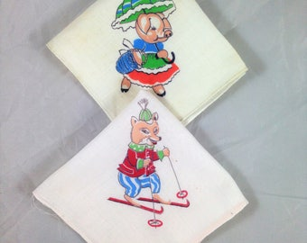Pair of Vintage Children's Hankies, Child's Handkerchiefs with Fox on Skis and Pic with Umbrella