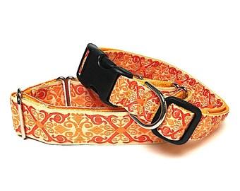 "1.5"" Martingale Dog Collar or 1"" tag / buckle collar TANGERINE CAMELOT orange, Greyhound Collar, Sighthound Collar, Adjustable, Training"