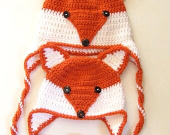Crochet Mommy and Me Fox Hats - Crochet Beanie, Mommy & Me, Mother Daughter Hats, Crochet Winter Beanie, Crochet Fox Hat, Custom Order