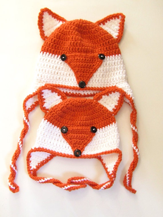 Crochet Mommy and Me Fox Hats - Crochet Beanie, Mommy & Me, Crocheted, Handmade, Foxes, Crochet Winter Beanie, Crochet Fox Hat, Custom Order