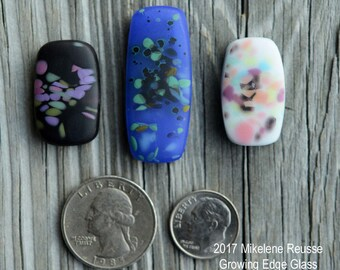 Soft ....  glass cabochons ... artsy, handmade glass designer cabochons by Mikelene Growing Edge Glass