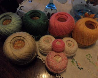 8 Skeins (rolls) of J & P Knit-Cro-Sheen Thread -Pink Ecru Greens Golden plus more