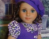 Linen Violets - dress, vest & beret for American Girl doll