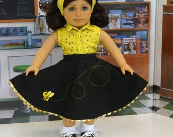 Honey Bee - circle skirt and blouse ensemble for American Girl doll